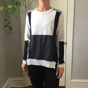 AIKO Intermix Color Block Long Sleeve Zipper Top